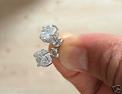 1.30 Ct Diamond Screw Back Round Stud Earrings 14K White Gold VVS1 Iced Out 6mm