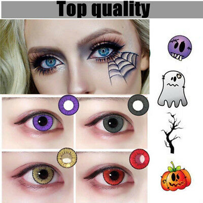 Coloured Contact Lenses Crazy Halloween Coloured Cosmetic Makeup Cosplay lens UK