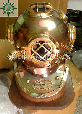 Antique Us Navy Boston Mass Mark V Diving Divers Helmet With Wooden Base