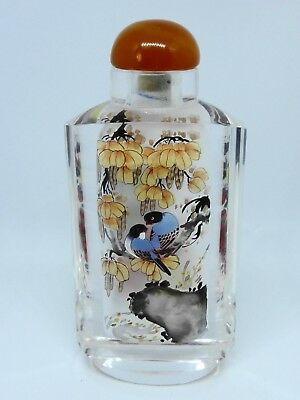 Perfume Bottle Snuff Chinese Inside Painted Thick Glass with a Cork Cap