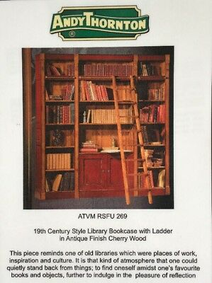 Library Bookcase With Ladder. 19th Century Style. Antique Finish Cherry Wood.