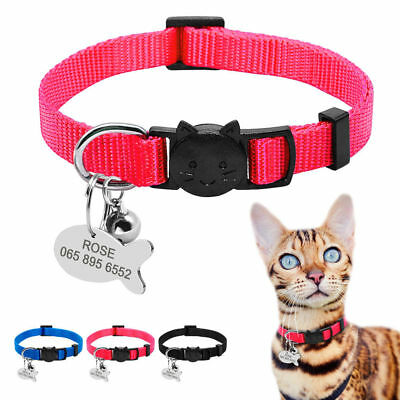 Personalised Dog Cat Collars&ID Tag Breakaway Quick Release Buckle Engraved Free