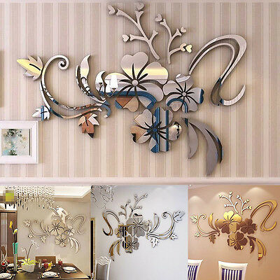 Removable 3D Mirror Flower Wall Sticker Acrylic Mural Decal Home Room Decor UWX