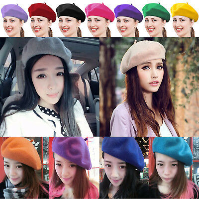 White Womens Autumn French Berets Beanies Fashion Wool Felt Accessories