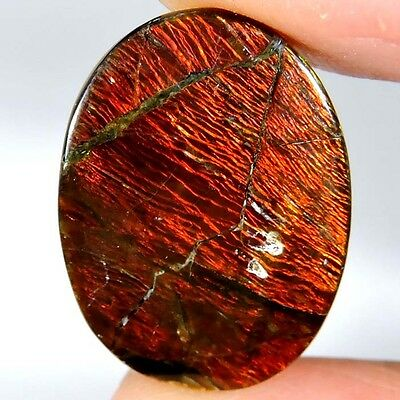 17.45cts 100% NATURAL EXCELLENT RED FLASHING AMMOLITE OVAL CABOCHON GEMSTONE