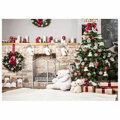 Christmas Tree Backdrop Photography Brick Fireplace Photo Studio Background L2Y9
