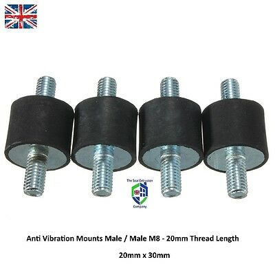 4 x RUBBER MOUNTS 30mm Dia x 20mm Long Male M8 Generator anti vibration exhaust