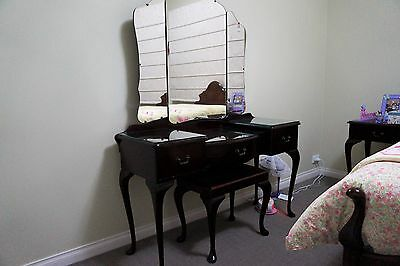 Antique Queen Anne Dresser with Mirror and Piano style stool, glass top pieces