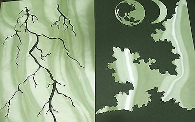 NEW N3 MOON LIGHTNING CLOUDS THUNDERSTORM Airbrush Stencil Template Paint Craft
