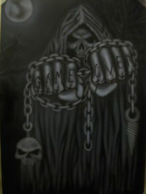 Game Over SKULLS ZOMBIES DEATH SKELETON Step by Step Airbrush Stencil Template