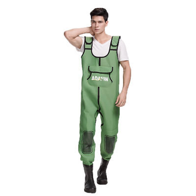 Neoprene Breathable Fishing Waders w/ Rubber Boots - Unisex - Green - [ADW -150]