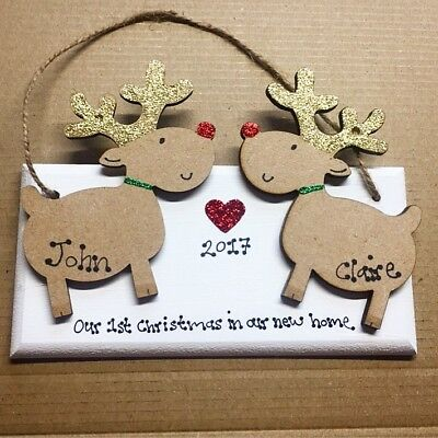 PERSONALISED First/1ST CHRISTMAS In Our New Home Decoration home Xmas Plaque