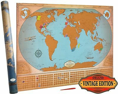 Deluxe Scratch Off World Map - Vintage Edition - States & ... Free Shipping, NEW