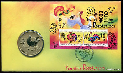 2005 Christmas Island Lunar Year Coin PNC/FDC - Year of Rooster