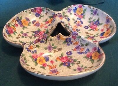 ERPHILA ~WARWICK  ~ Chintz Floral  3 SECTION RELISH TRAY