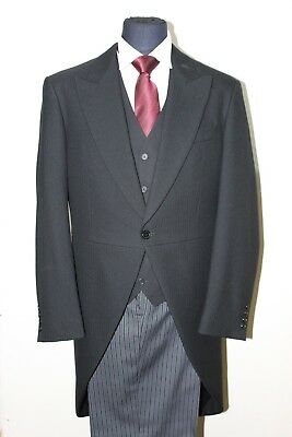 MEN AND BOY'S BLACK HERRINGBONE TAILCOAT WEDDING/MASONIC/FUNERAL (new)