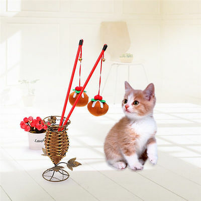 Christmas Themed Wire Chaser Kitten Cat Pet Wand Teaser Mint Bell Play Fun Toys