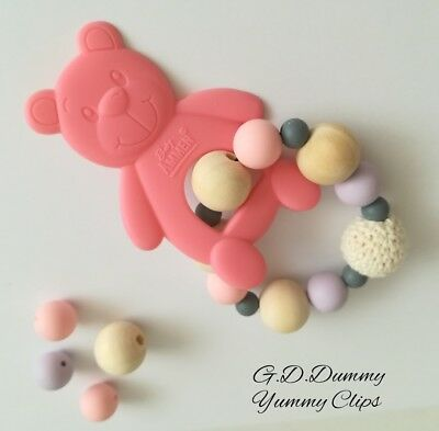 Baby silicone, wooden teething bracelet