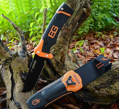 Gerber Bear Grylls Survival Ultimate Pro Fine Edge Knife Sheath Whistle FireStar