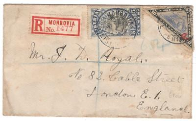 cover111 Liberia 1918 Reg cover to London with 10c & 5c