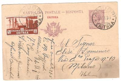 cover113 Eritrea 1935 15c stationery card uprated by 15c to Italy