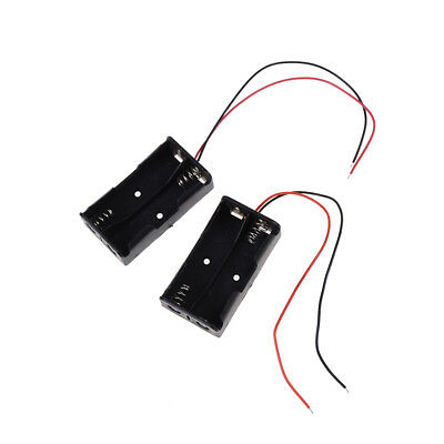 """2 pcs Plastic Battery Storage Case Box Holder for 2 x AA with 6"""" Wire Leads ^"""
