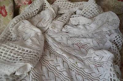 Antique hand knitted cotton bed cover, matching cushion cover