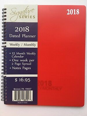 2018 Signature Dated Day Planner Calendar Appointment- Weekly Monthly RED 8X10