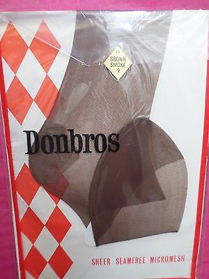 Vintage Nylon Stockings By DONBROS Colour Brown Smoke Size 9