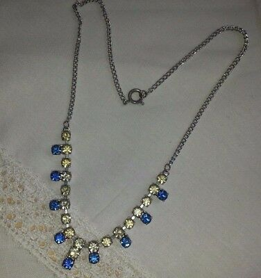 Pretty Vintage  Blue And Clear Diamante Silver Tone Necklace