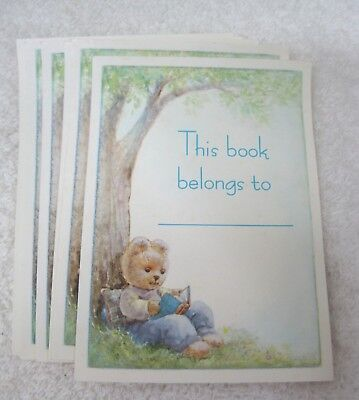 Older Teddy Bear Reading Book at Tree Set of 6  Book Plates   T15