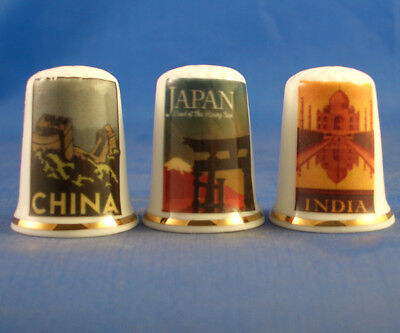 Fine Porcelain China Thimbles - Set Of Three  Travel Posters Asia