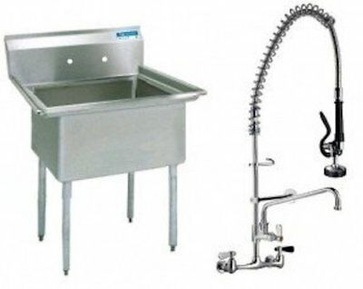 """Stainless Steel 1 Compartment Sink 24"""" x 24"""" No Drainboard with Pre-Rinse Faucet"""