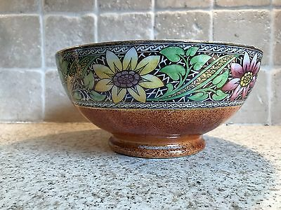 "Large 8.5"" Maling Newcastle On Tyne Floral Lustre Ware Fruit Bowl Floral Pattern"