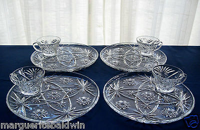 Anchor Hocking Glass 4 Clear Early American Prescut Luncheon Plate & Cup Sets