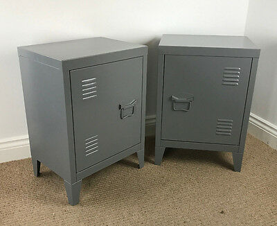 **ASSEMBLED** PAIR of Urban Loft Locker Side Tables INDUSTRIAL BEDSIDE CABINETS