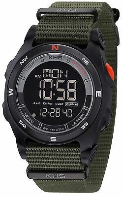 KHS Tactical Watches Men's Military Digital Compass Alarm Watch Army Strap Oliv