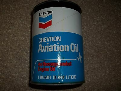 "VINTAGE CHEVRON AVIATION OIL CAN BEAUTIFUL 1960's VERY RARE ""FULL"" 1 QUART"