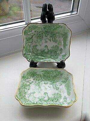 Pair of vintage Royal Crown Derby green  'Aves' pin trays