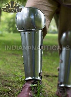 Medieval Steel Armor Greaves Leg Guards Costume Solid steel