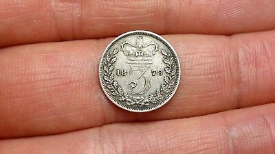 1878  Great Britain 3 Pence silver Coin, UK, 925, sterling