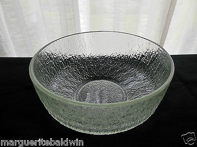 "Indiana Glass Clear Crystal Ice 9 1/2"" Serving Bowl"