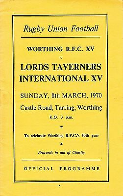 Worthing Rugby Club V Lords Taveners Xv Programme 1970