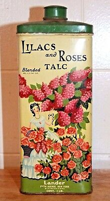 Vintage Lilacs and Roses TALC Powder Tin, Flower Graphics, LANDER, Fifth Ave NY