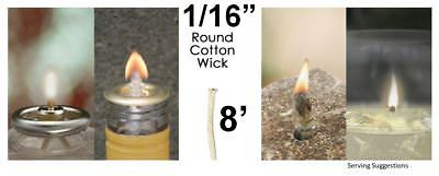 1/16 Round Cotton Wick 8 Feet Kerosene Lamp Tiki Torch Bottle Oil Candle USA