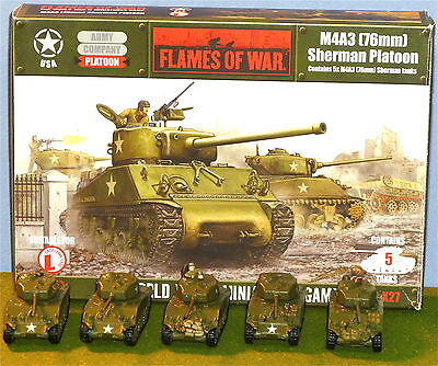 Flames of War  US M4A3  (76MM)  Sherman Platoon 5 Tanks  Painted, and dullcoated