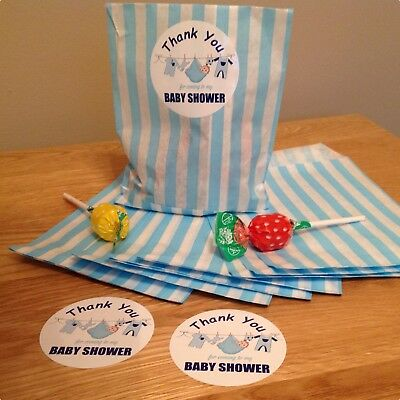 12 Baby shower stickers & 12 Paper Bags, Favours  For Boy or Girl Blue or Pink