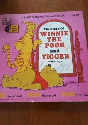 WINNIE THE POOH & TIGGER SONGS Disney Disneyland Record and Book 1968 Vintage