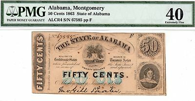 1863 State of Alabama 50 Fifty Cents Civil War Currency Note Bill - PMG EF 40