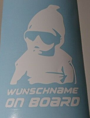 Aufkleber WUNSCHNAME ON BOARD Sticker Hangover Baby Kind Autoaufkleber
